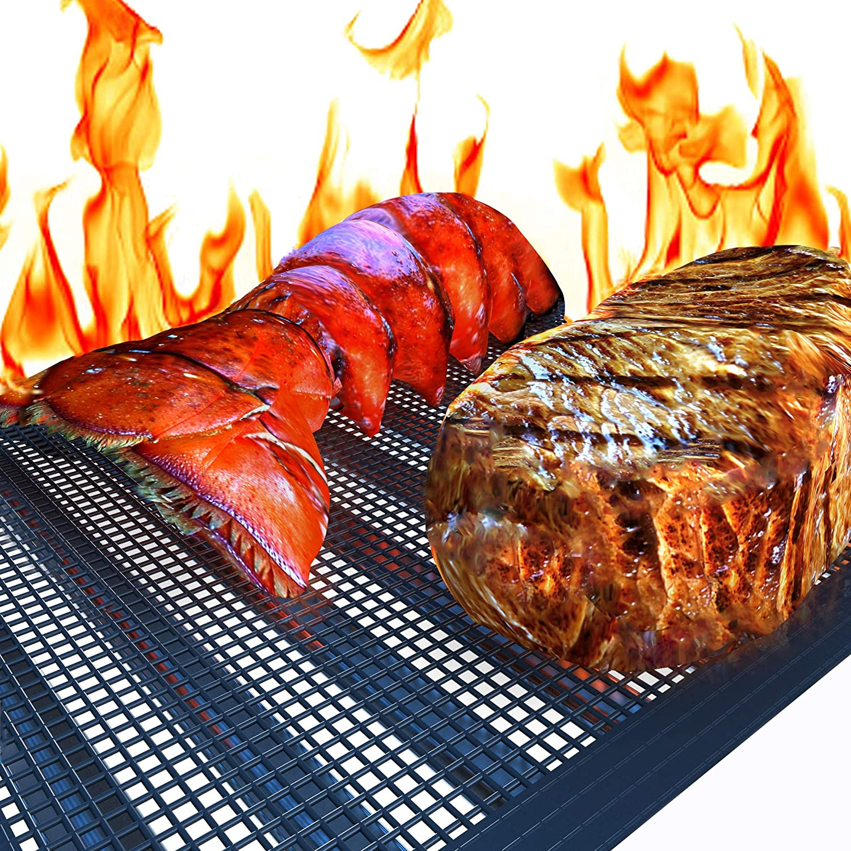 Kona Mesh BBQ Grill Mats - Heavy Duty 600 Degree Nonstick Mesh Grilling Mats (Set of 2) - 7 Year Warranty
