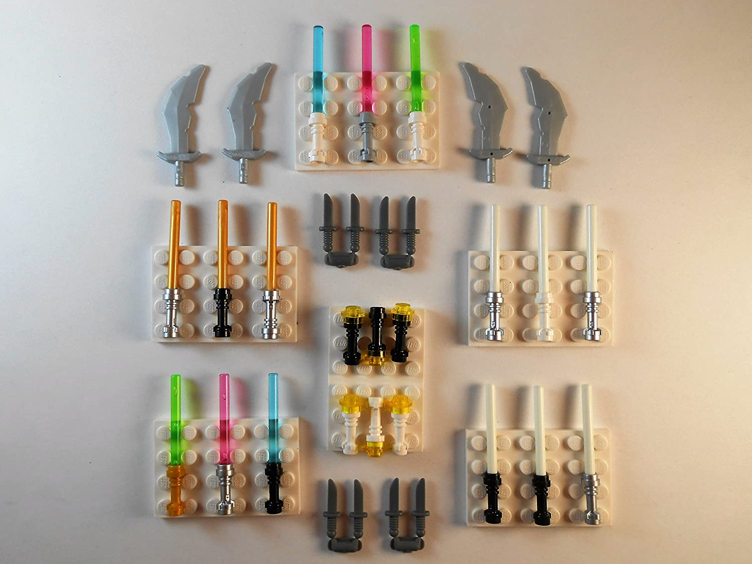 LEGO Lightsabers flashlights Swords Knifes. Glow in The Dark. Lot of 29 Star Wars Minifigure Weapons Toys