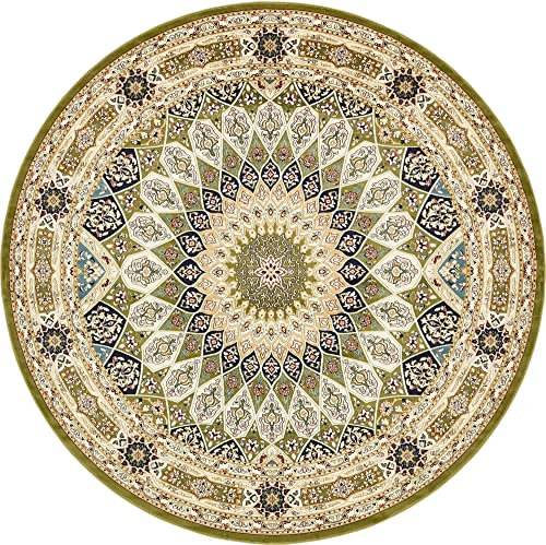 Unique Loom Narenj Collection Classic Traditional Medallion Textured Green Round Rug 10 0 x 10 0