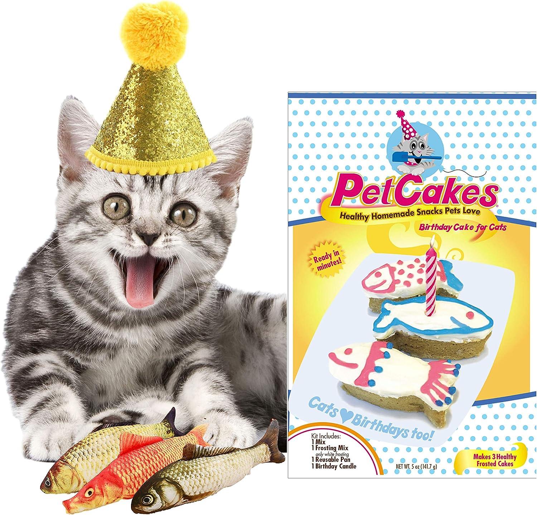 PetCakes Cat Organic Birthday Cake Kit Turkey Flavor Cat Treats 5oz, 3-Piece Catnip Fish Cat Toy Pets Pillow Chew Plush Toys & Happy Birthday Hat Gold Cone Yellow Balls Cat Costume Pet Party Supplies