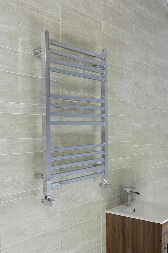 Rejilla de tubos cuadrados para colgar toallas en el radiador, cromado tipo escalera, acero, 800 x 530 with 12 Bars: Amazon.es: Hogar