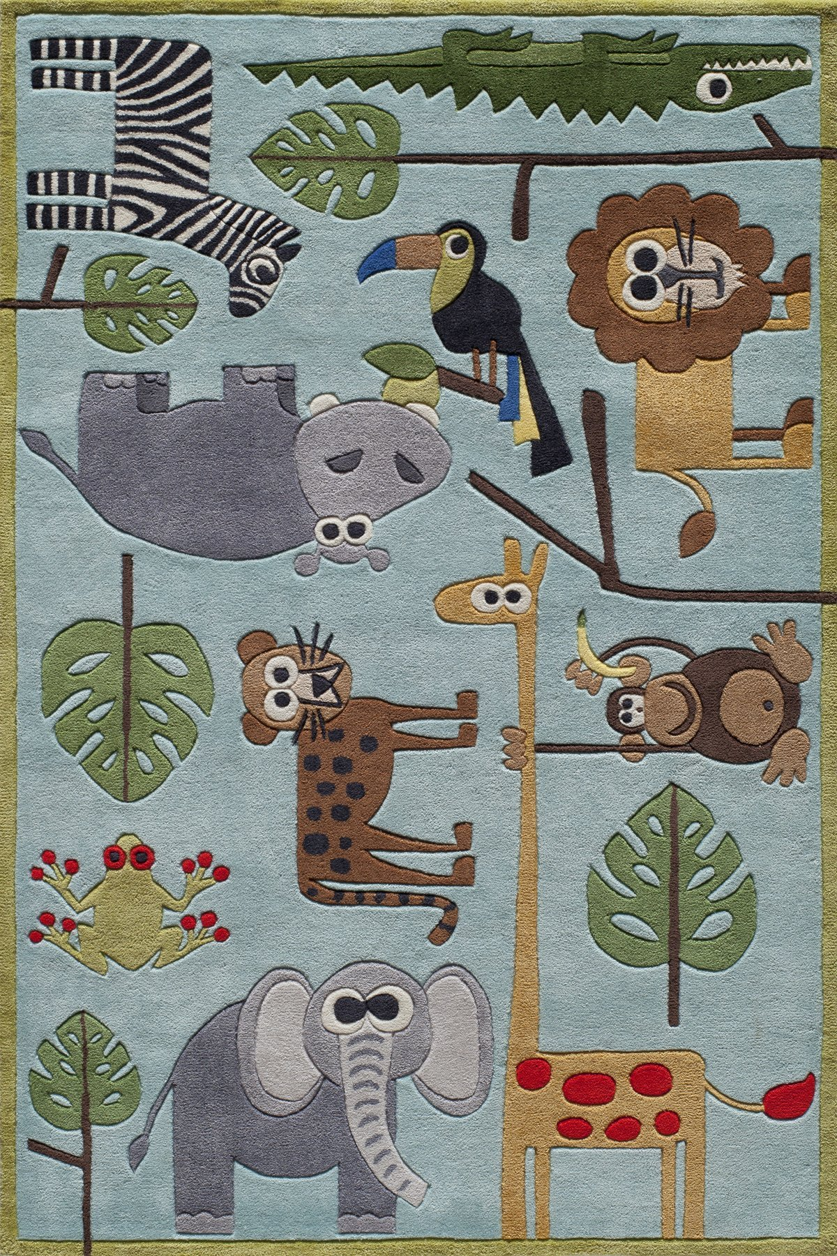 Momeni Rugs LMOJULMJ19BLU4060 Lil' Mo Whimsy Collection, Kids Themed Hand Carved & Tufted Area Rug, 4' x 6', Multicolor Jungle Animals on Blue
