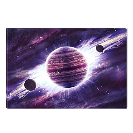 Startonight canvas wall art purple universe abstract landscape dual view surprise artwork modern framed ready