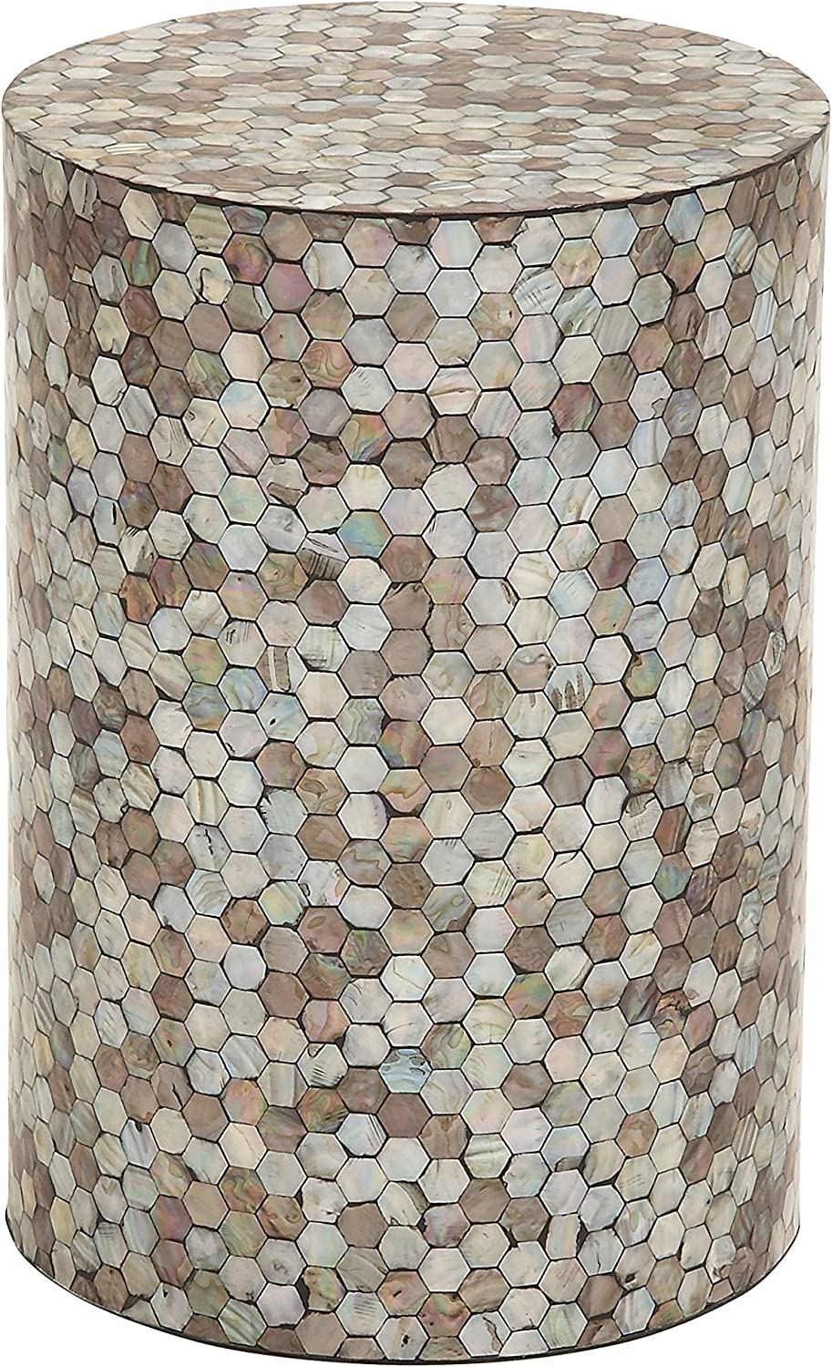 "Deco 79 48985 Small Round End Table with Freshwater Pearl Mussel Shell Inlay, 14"" x 20"""