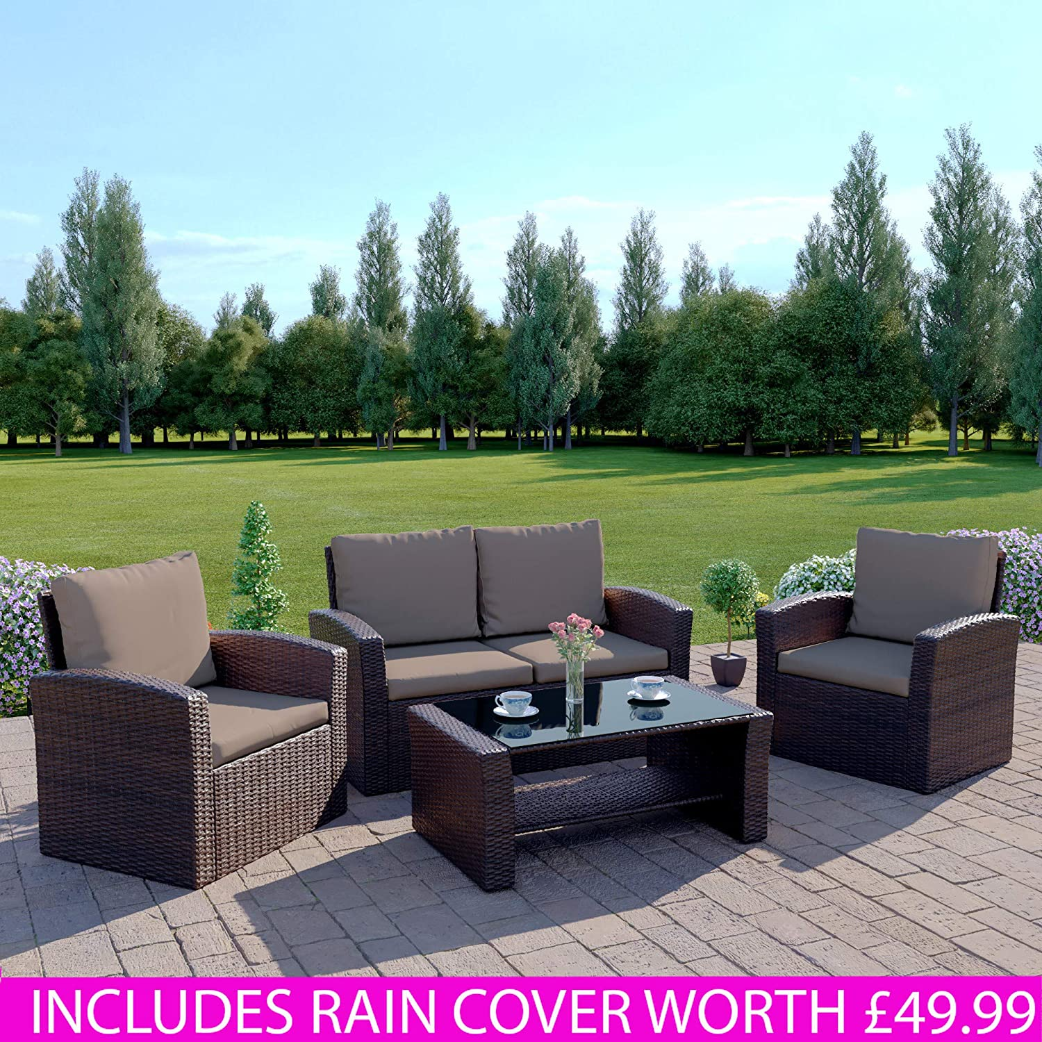 New Algarve Rattan Outdoor Garden Patio//Conservatory 4 Seater Sofa and Armchair set with Cushions and Coffee Table.INCLUDES PROTECTIVE COVER Conservatory Sofa Set Dark Brown with Dark Cushions