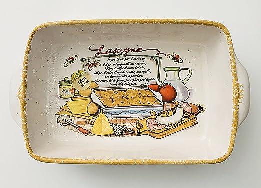 Hecho en Italia | lasaña receta | cerámica rectangular para ...