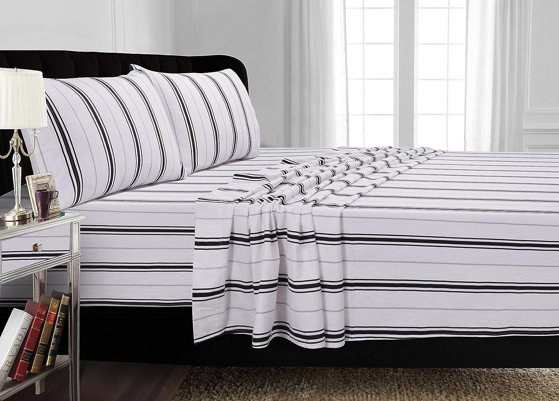 Tribeca Living 170-GSM Stripe Printed Deep Pocket Flannel Sheet Set Twin Black Grey