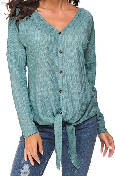 57758a14 Womens Waffle Knit Tunic Tops Tie Knot Henley Shirst Bat Wing Plain Blouse  Green S