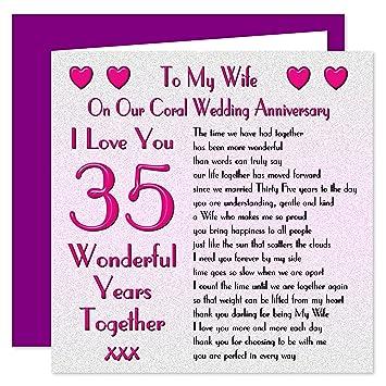 35 Hochzeitstag   Gluckwunschkarte Zum 35 Hochzeitstag Karte Auf Meine Frau Coral
