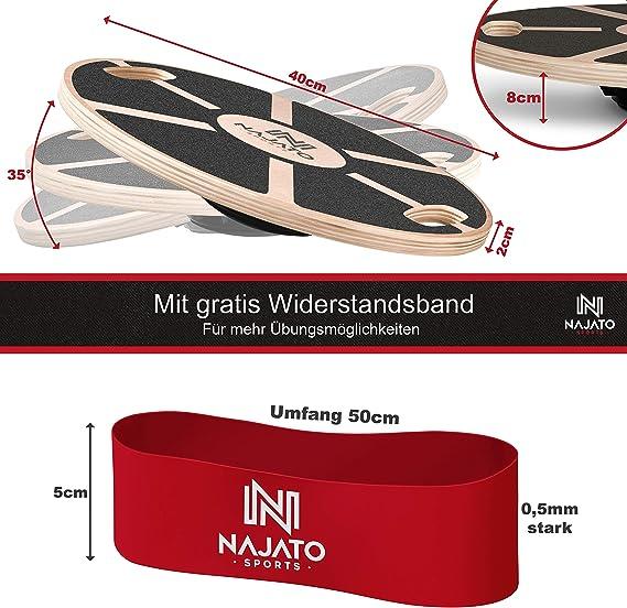 Mit rutschfestem gummiertem Standfu/ß Wackelbrett mit Handgriffen f/ür mehr /Übungsm/öglichkeiten NAJATO Sports Balance Board aus Holz