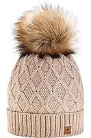Wurm Winter Strickmütze Mütze Damen Kristalle Kiesel mit Große Pelz Bommel Pompon l SKI ( MFAZ Morefaz Ltd)