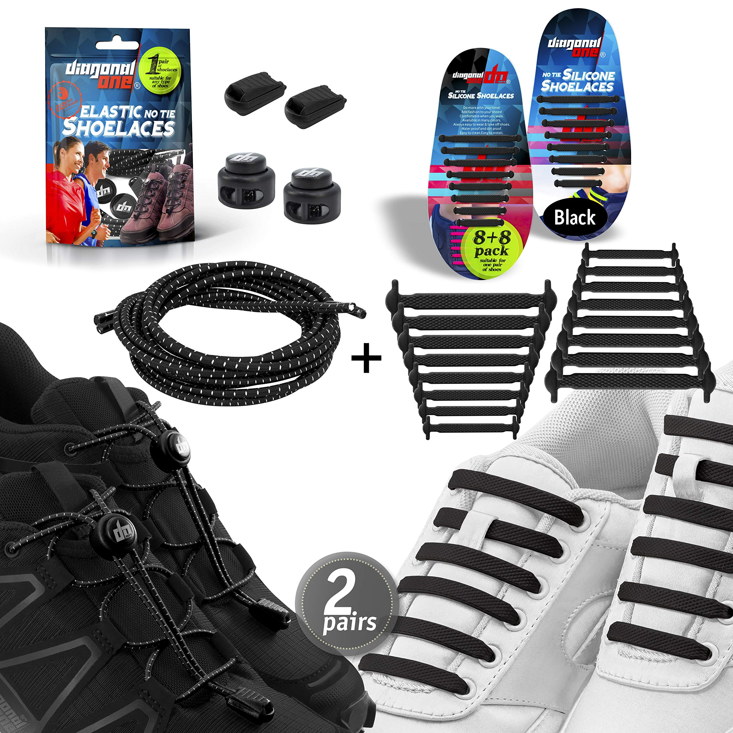 43d669f1610 Diagonal One No Tie Shoelaces – 2 Pack. Slip On Tieless Elastic Silicone  Shoe Laces