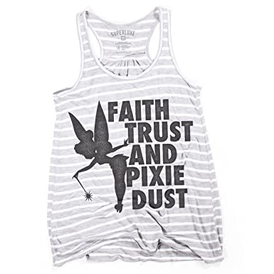 7420fbf70387d5 Amazon.com  Superluxe Clothing Womens Faith Trust Pixie Dust Tinkerbell Racerback  Tank Top  Clothing