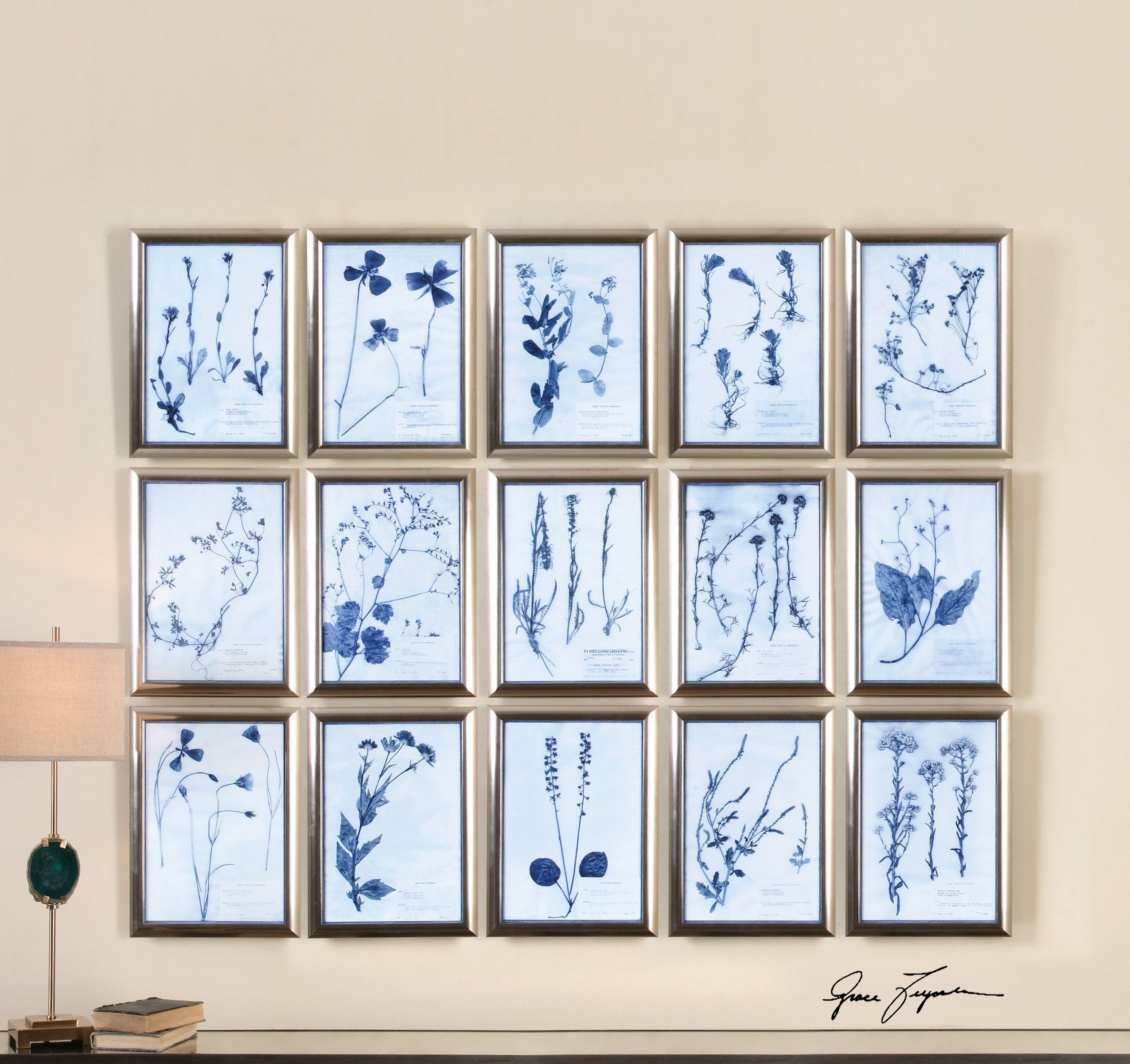 Delft Flowers Wall Art Collage | Silver Blue Botanical Set by Uttermost