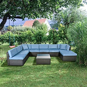 GOJOOASIS Patio Furniture Sets Outdoor Wicker Sectional Sofa Set with Cushion and Pillow, Black (9pcs Rattan Sofa Set-A)