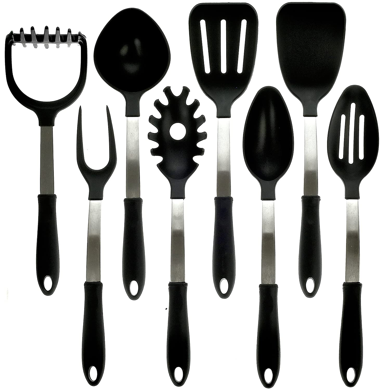 kitchzen 8 piece stainless steel cooking utensils set