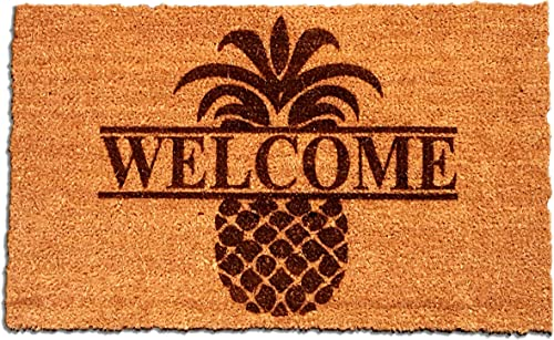 Personalized Your Name Coir Fiber Laser Engraved Doormat 30 x 18 Pineapple Custom