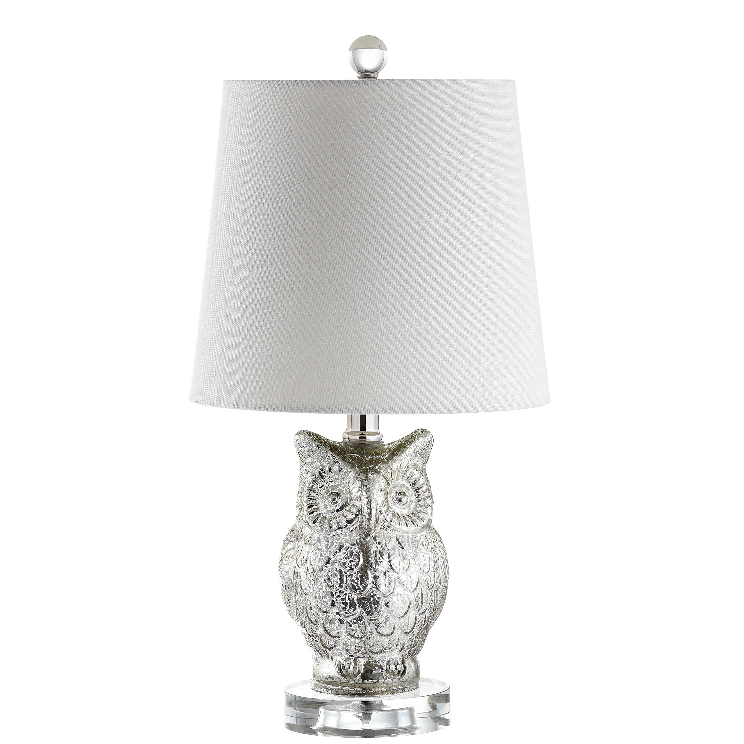 JONATHAN Y JYL4010A Night Owl 19'' Glass/Crystal Table Lamp, Silver/Ivory