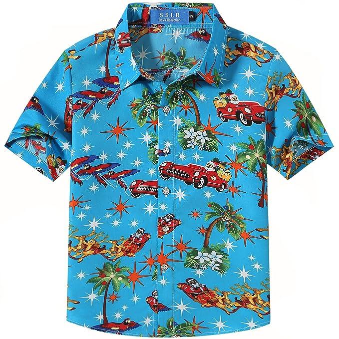 58c90667 SSLR Big Boys' Xmas Party Casual Hawaiian Ugly Christmas Shirt (X-Small(