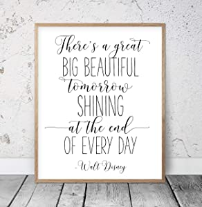 There's A Great Big Beautiful Tomorrow Shining At The End of Every Day Walt Disney Quotes Nursery Printable Kids Room Decor Inspirational Wood Pallet Design Sign Plaque with Frame wooden sign
