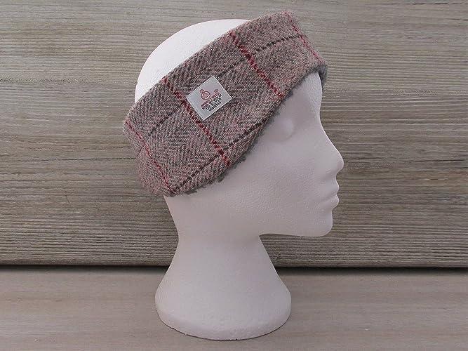 Image Unavailable. Image not available for. Colour  Harris Tweed Pink    Grey Herringbone Luxury Ear Warmer Headband 3c97948ddc1