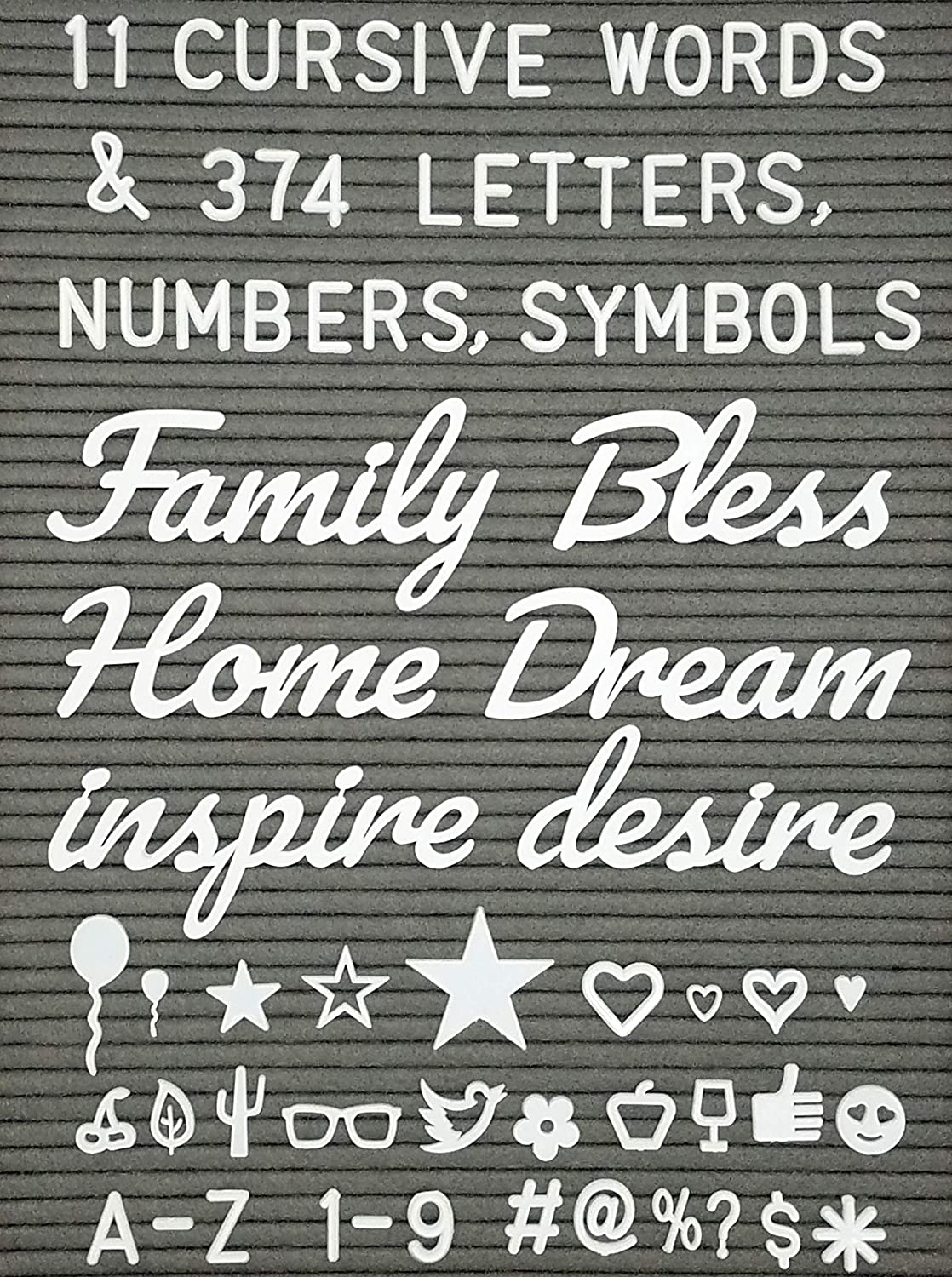 Letter Board Words And Extra Letters Set 11 Cursive Words 374 Letters Numberssymbols Emojis For Felt Board Marquee Sign Word Board Or Sign Board
