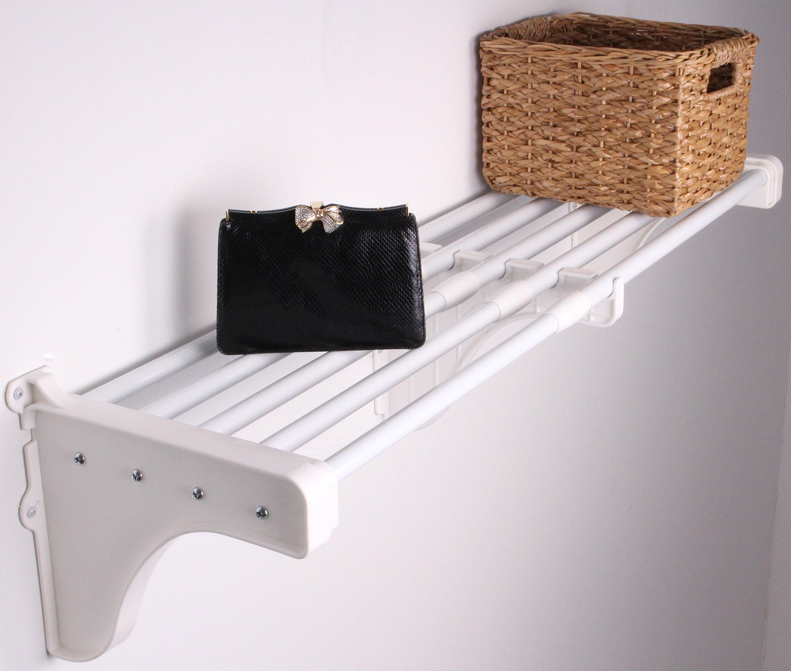EZ Shelf - 28'' - 50'' Expandable Shelf - White - Two Brackets by EZ Shelf