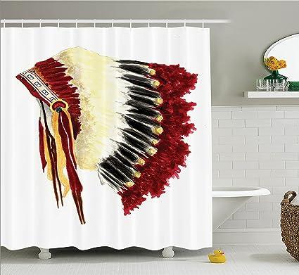 Ambesonne Native American Shower Curtain Original Ethnic Symbolic Eagle Feather Headdress Life Style