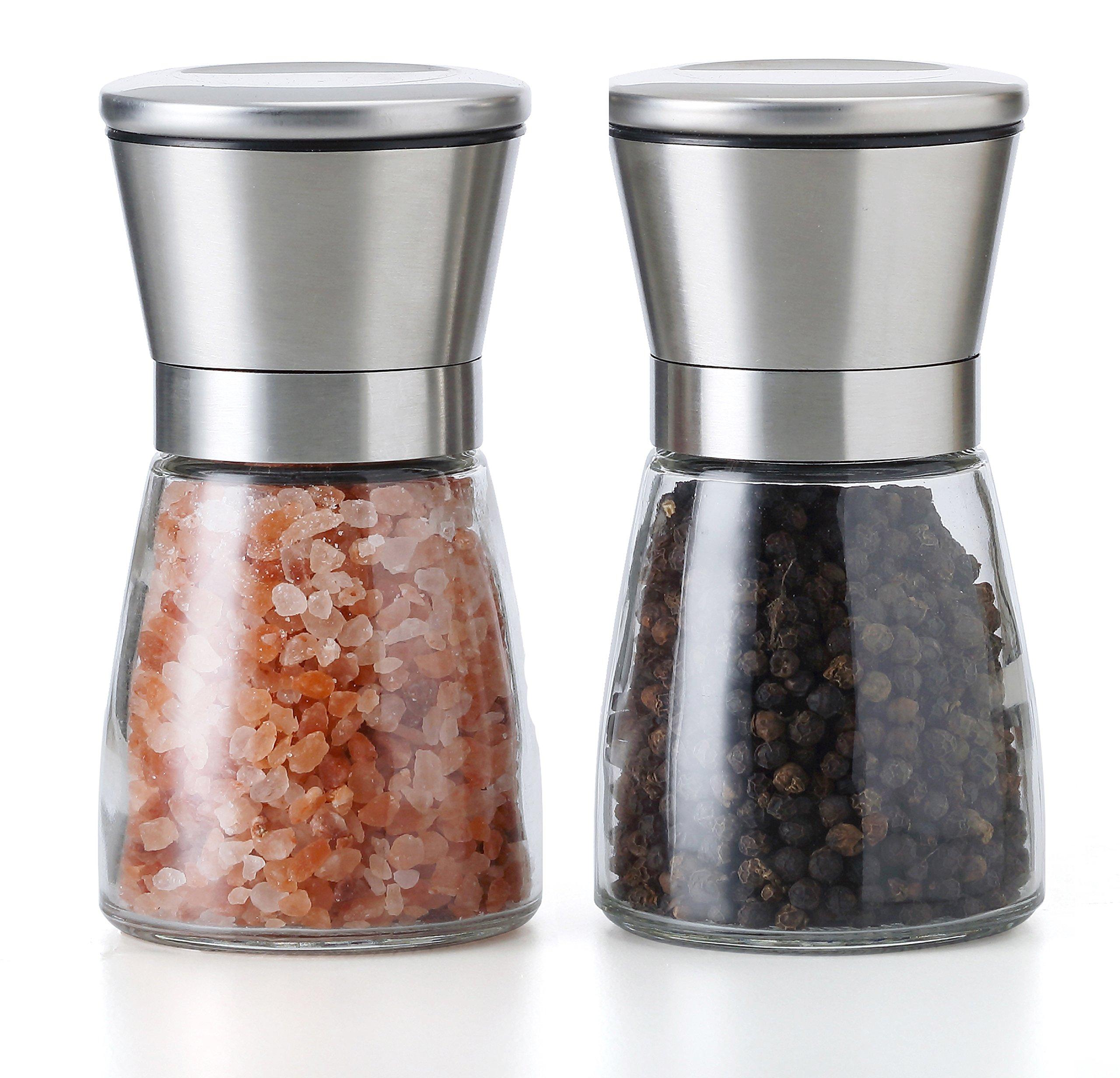 TGY Grinder Set of 2 Adjustable Coarseness Salt & Pepper Shakers Glass Mill Brushed
