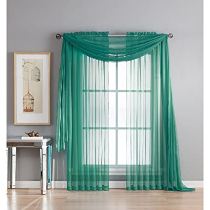 Window Elements Diamond Sheer Voile 56 X 216 In Curtain Scarf Grey Teal