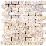 Divero Marmor 11 Matten 33 x 33cm Naturstein-Mosaik Fliesen für Wand Boden rot