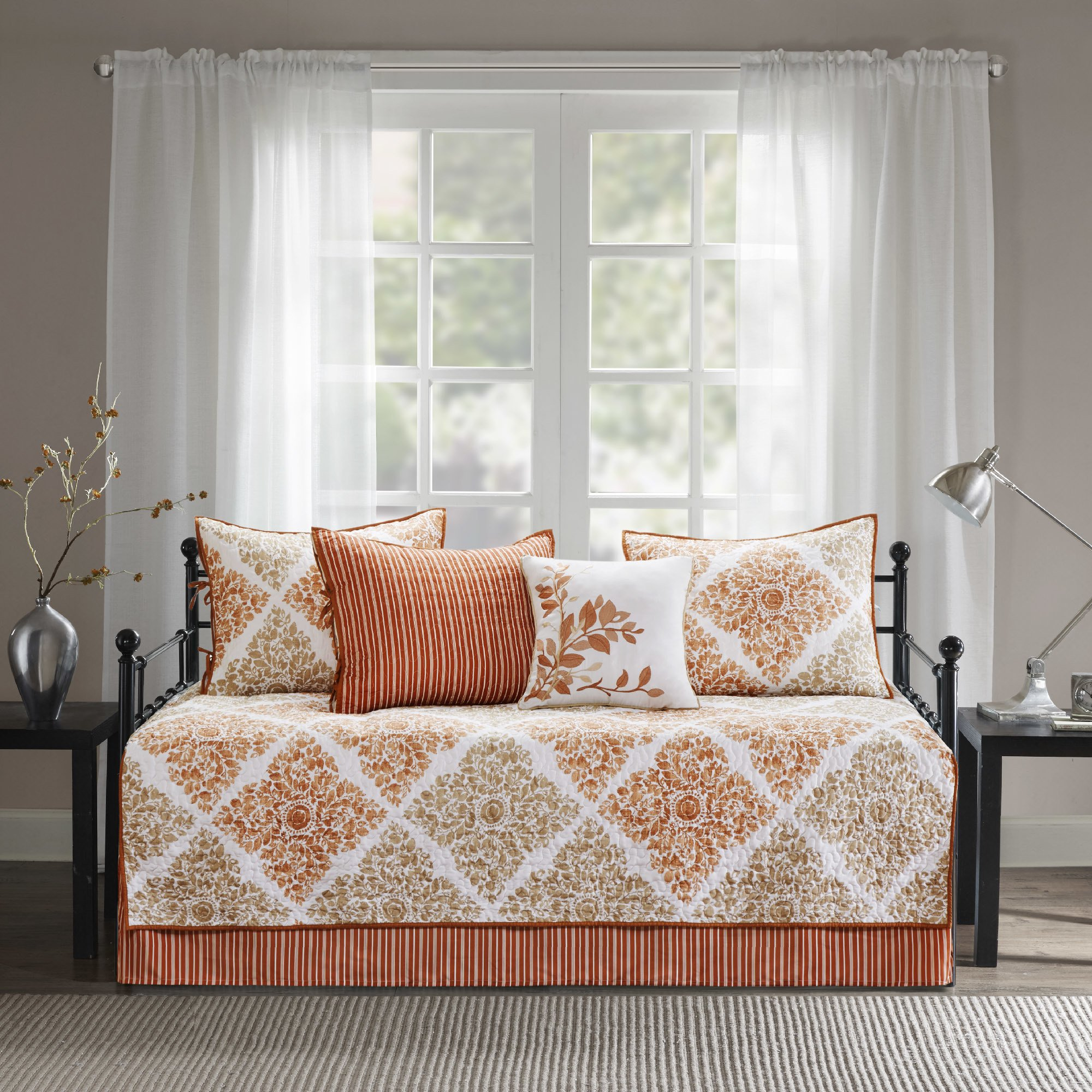 6 Piece Orange White Floral Daybed Set Bedding, Geometric Coastal French Country Shabby Chic Motif Flower Design Pattern Day Bed Bedskirt Pillows, Polyester