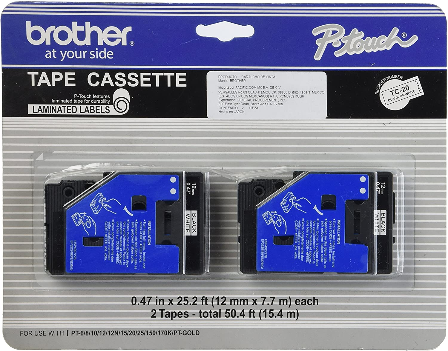 Brother Tc-20 0.47-Inch x 25.2 Ft. - Black On White Tape for Pt-6 8 10 12 15 20 150 170 2-pack
