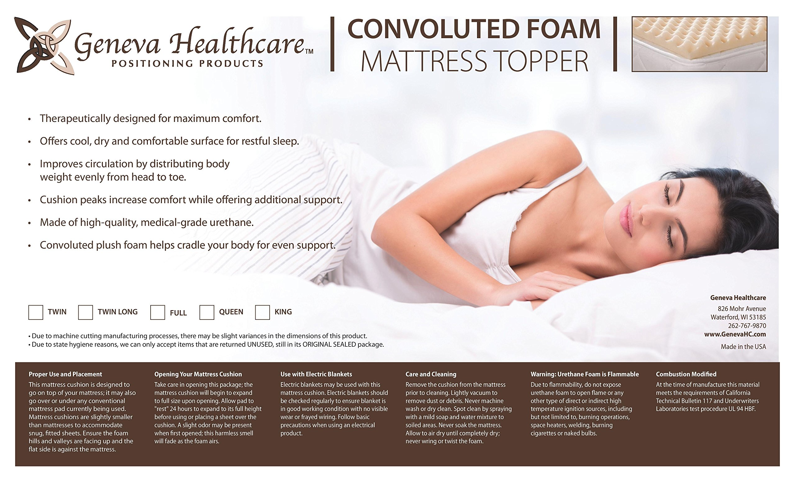 Geneva Healthcare Egg Crate Convoluted Foam Mattress Pad 3'' Topper - 3'' x 56'' x 72'' - 1.5 Density