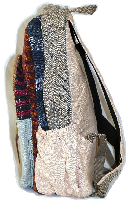 Mochila de fibra de cáñamo / Mochila de cáñamo / Daypack para la escuela, viajes, vacaciones, ocio, al aire libre, festival - con compartimento para el ...