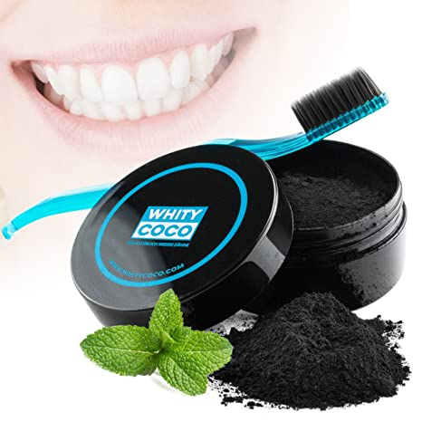 Whity Coco Brillo de dientes de carbón activado 30g + Cepillo de dientes con cerdas de