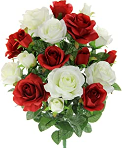 Admired By Nature GPB6433-RD/CM 18 Stems Artificial Rose Mixed Flower Bush, Rose & Rose Buds - RD/cm