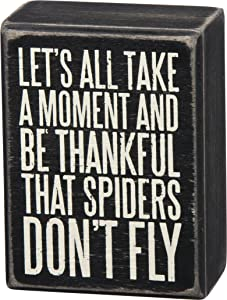 """Primitives By Kathy Box Sign """"Let's All Take a Moment and Be Thankful That Spiders Don't Fly"""""""
