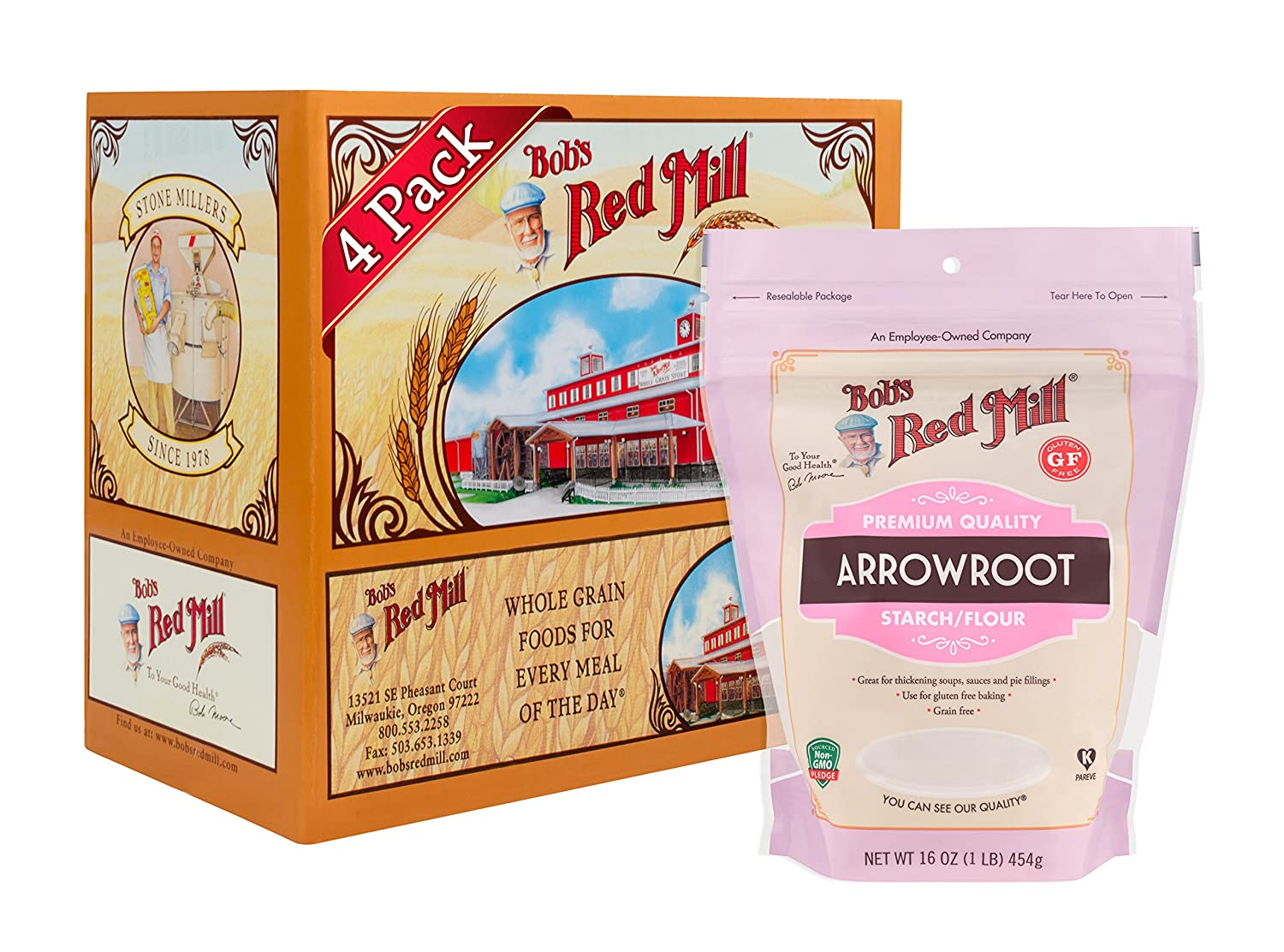 Amazon com bobs red mill resealable gluten free arrowroot starch flour 16 oz 4 pack grocery gourmet food