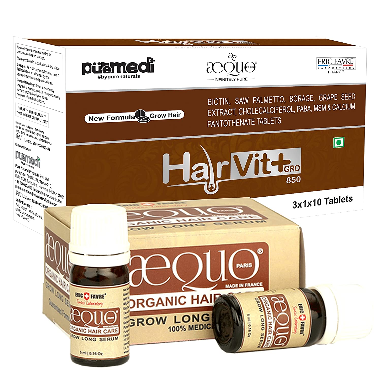 Amazon com : HAIRVIT+ GRO HAIR KIT MEN (30CAP+GLS) SERUM 5+5