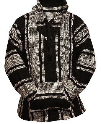 Amazon.com  Unisex Black Mexican Baja Hoodie Pullover Jerga X-Small ... 5247f06f55c