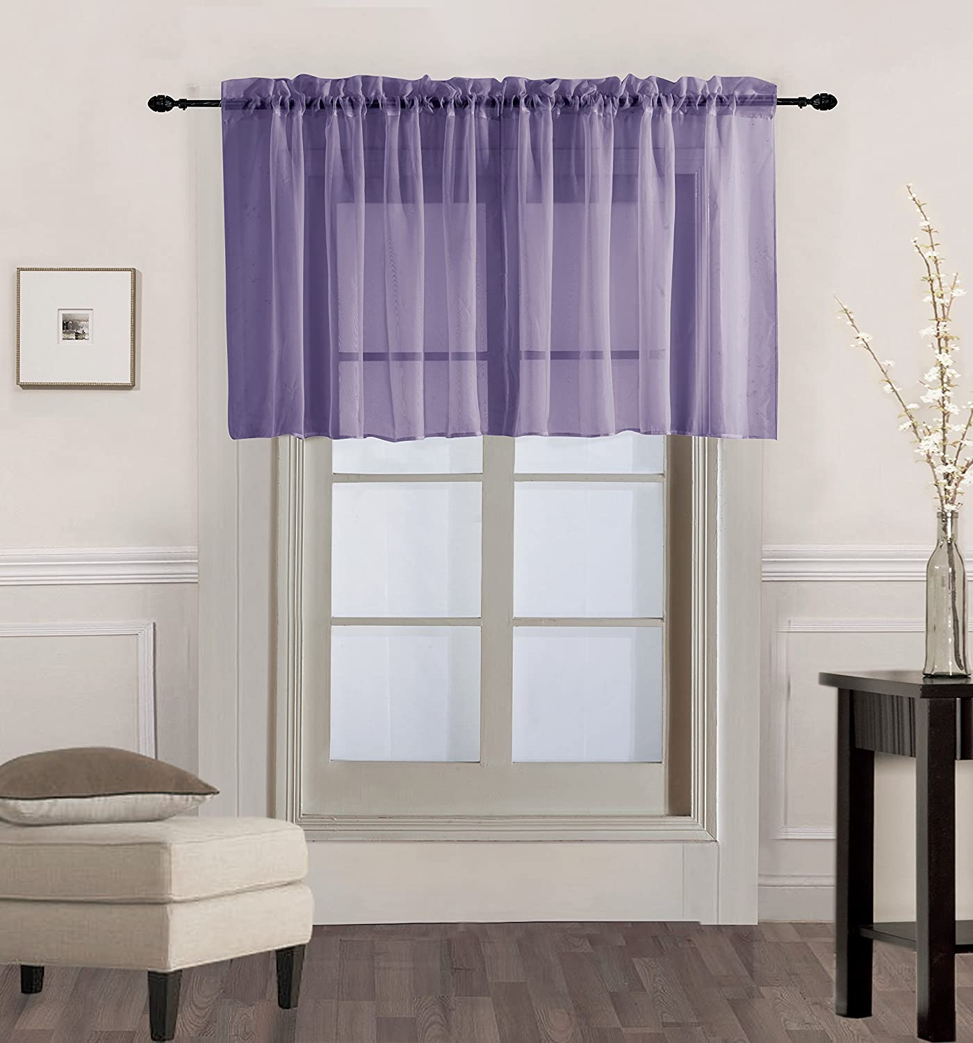 "GorgeousHome (V16) 1PC Solid Lilac Lavender Voile Sheer Versatile Multi Use Luxury Rod Pocket Window Straight Valance Topper Waterfall Swag Treatment 55"" X 18"""
