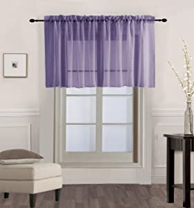"""GorgeousHome (V16) 1PC Solid Lilac Lavender Voile Sheer Versatile Multi Use Luxury Rod Pocket Window Straight Valance Topper Waterfall Swag Treatment 55"""" X 18"""""""