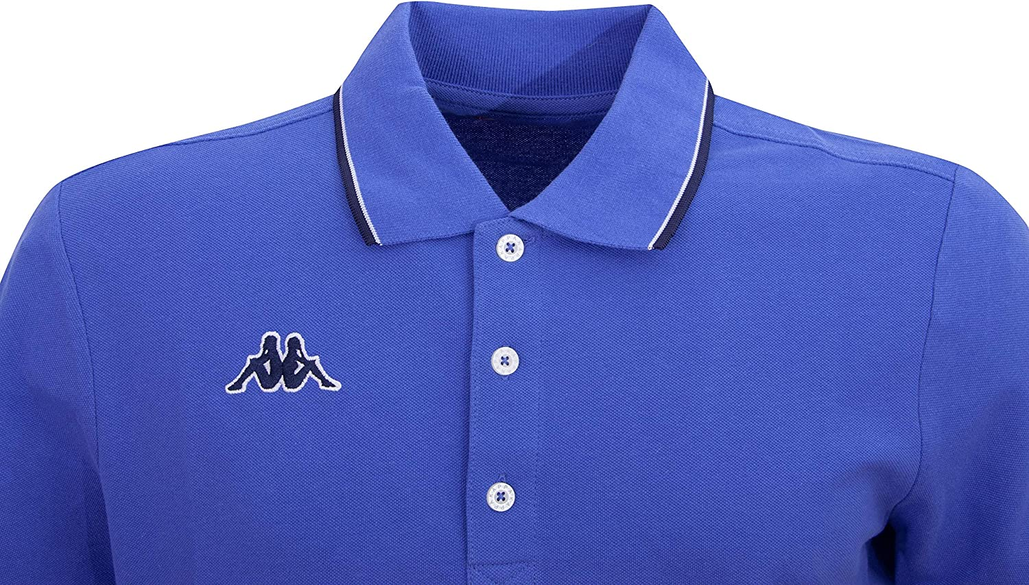 Kappa Men's Polo Shirt Woffen. 100% pique cotton with contrast stripes on the collar cuffs. 1 X Baja Blue.