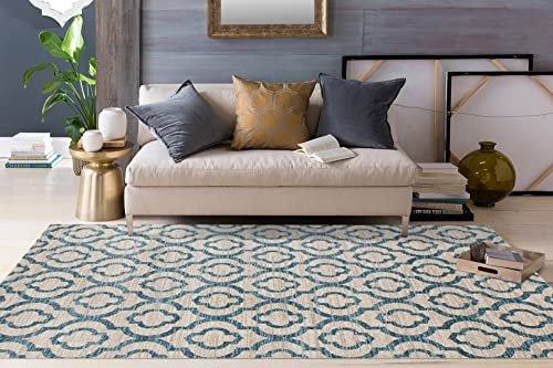 Moroccan Trellis Pattern Soft Blue 5 3 x 7 3 Area Rug New