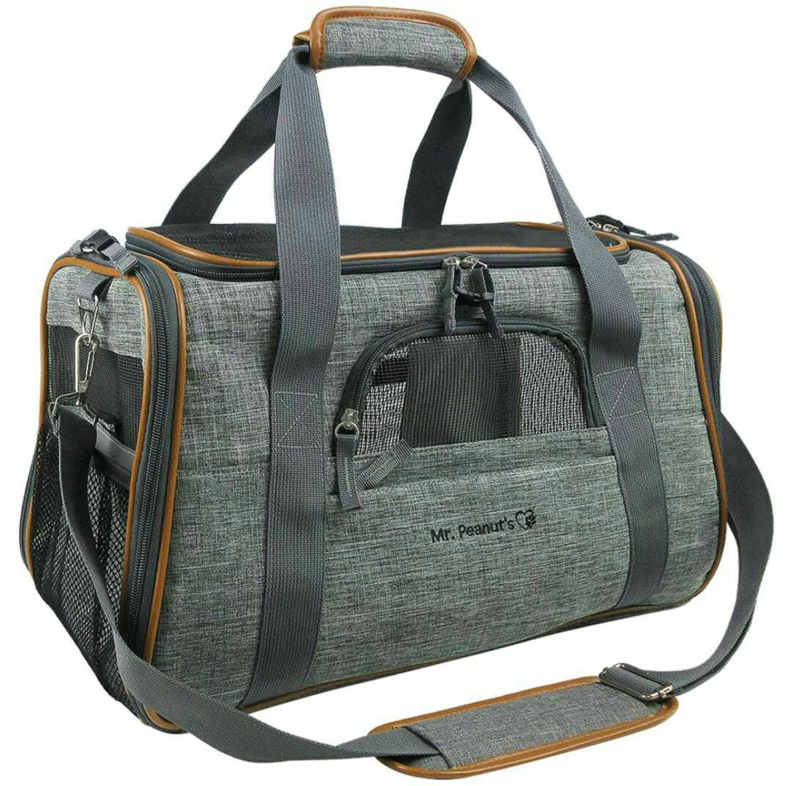 Mr. Peanut's Airline Approved Soft Sided Pet Carrier, Luxury Travel Tote with Premium Zippers & Safety Clasps, Plush Faux Fleece Bedding with a Sturdy Plywood Base, 18LX10.5WX11''H (Twilight Gray)