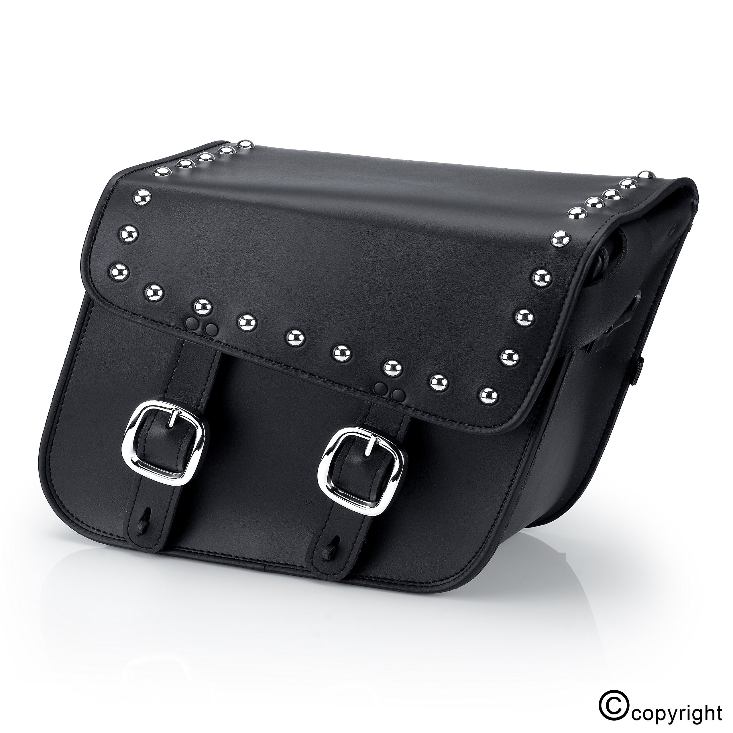 Nomad USA Leather Studded Large Motorcycle Saddlebags w/ Quick Release Buckles