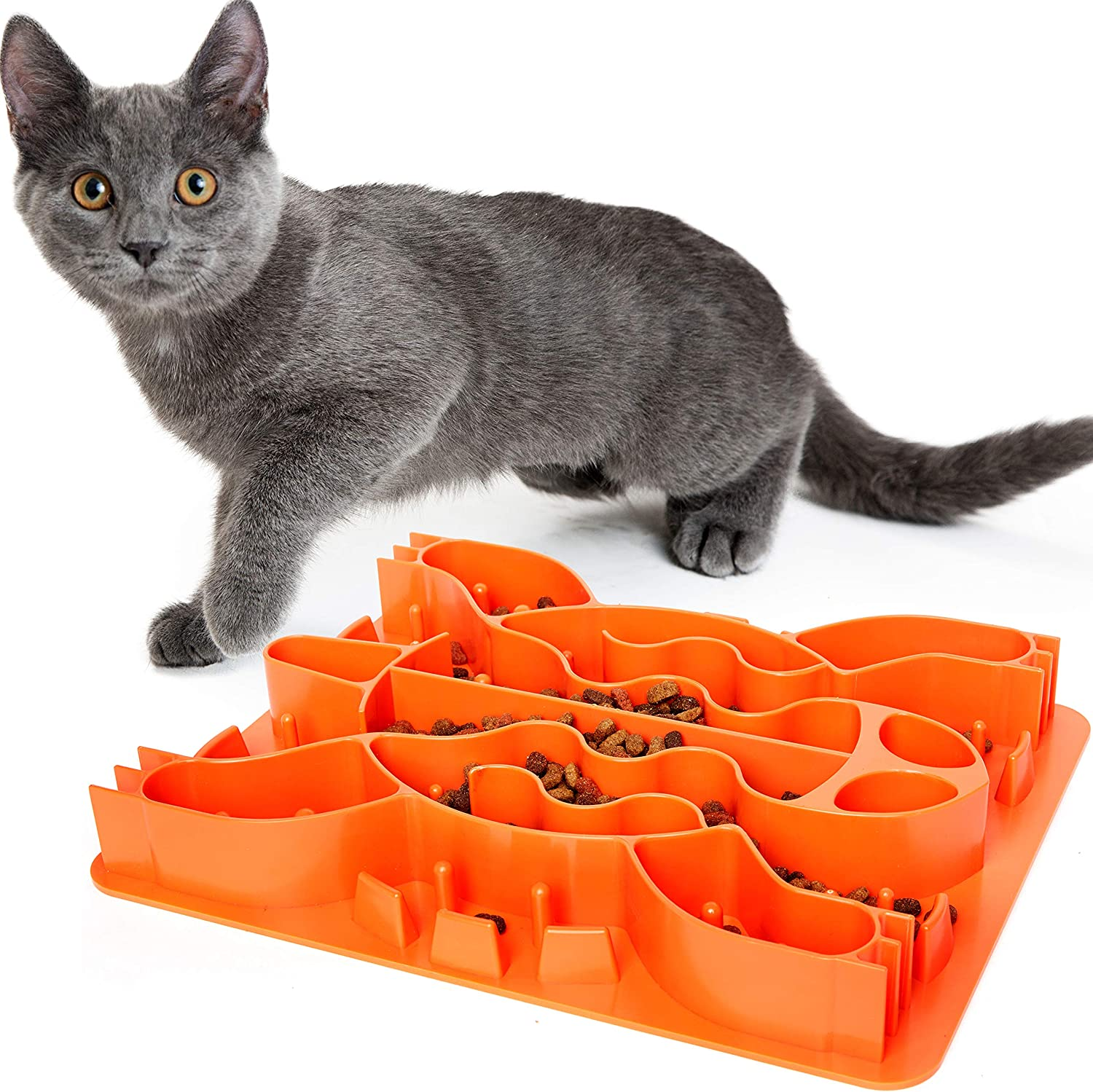 Slow Feeder Cat Bowl - Interactive Food & Treat Puzzle Feeder - Slow Feed Maze Activity Toy to Promote Healthy Eating & Portion Control - Food Grade Material - Non-Slip & Dishwasher Safe