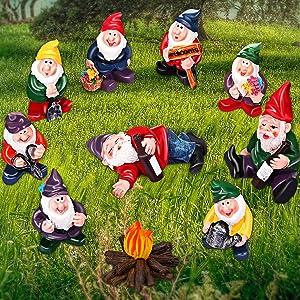 10 Pieces Garden Mini Gnome Ornaments, Garden Dwarf Micro Landscape Decoration, Miniature Fairy Garden Statue Accessories for Outdoor, Potted Plant, Desktop