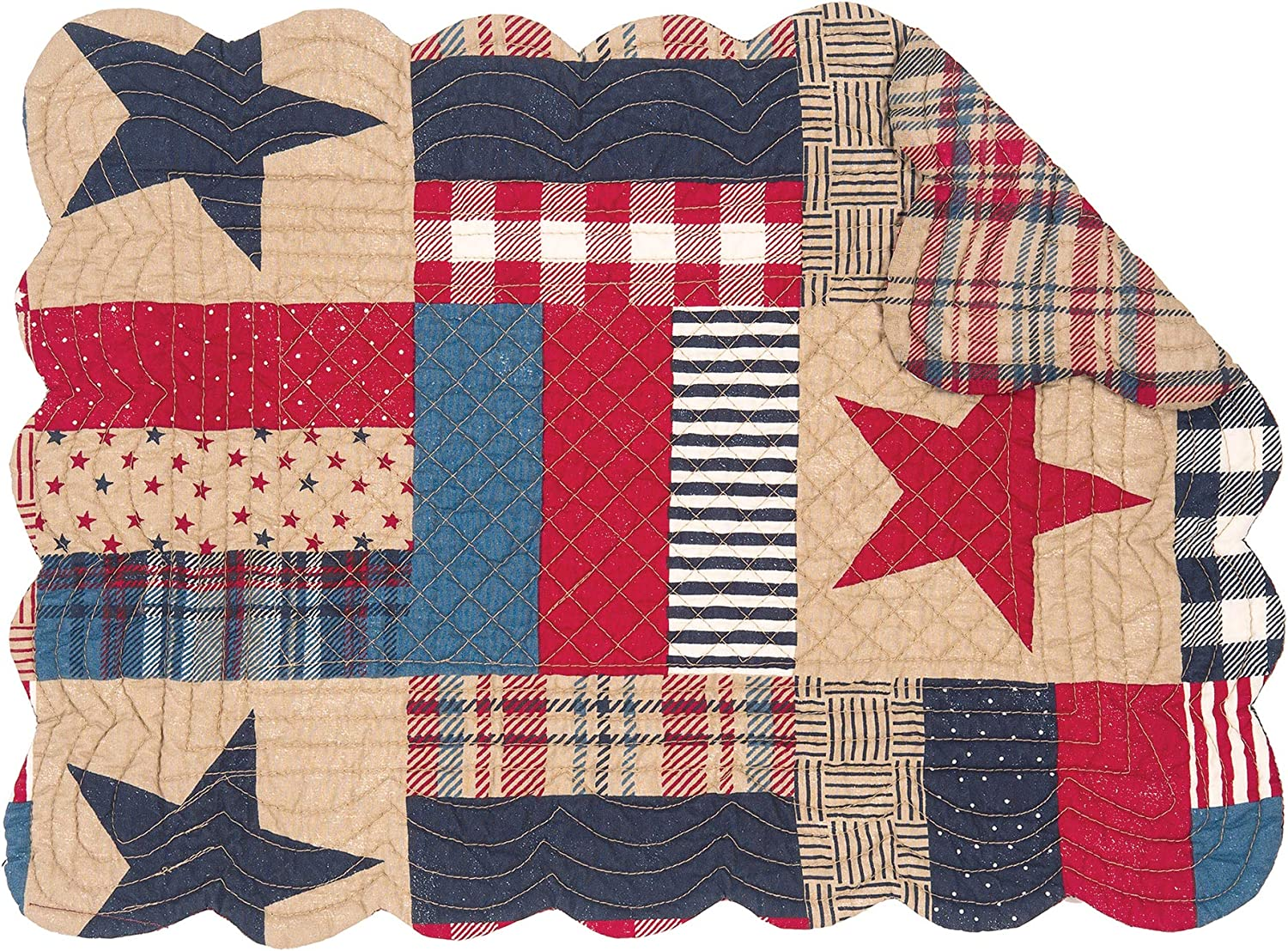 C&F Home Bennington 13'' x 19'' Placemat Set of 6 Reversible Stars Stripes 4th of July USA Patchwork Table Mat for Kitchen Dining Table Rectangular Placemat Set of 6 Blue